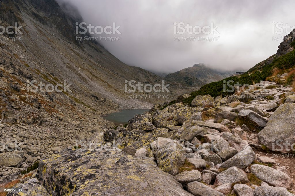 Rocky landscape in the High Tatras in Slovakia stock photo
