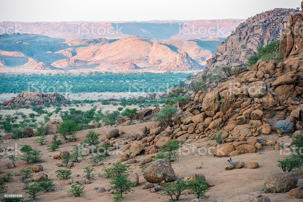 Rocky landscape of Namibia with huge boulders and green trees stock photo