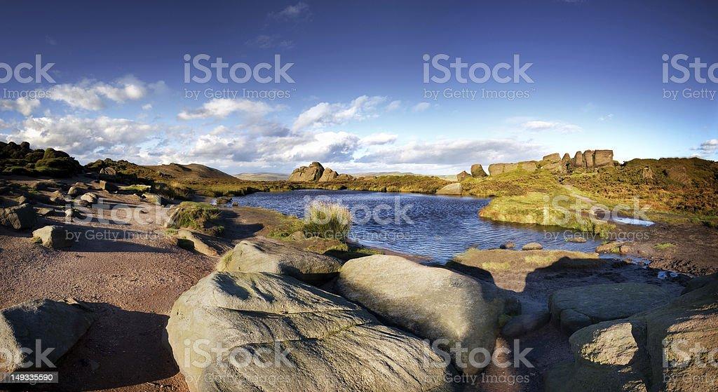 Rocky Landscape with pond stock photo