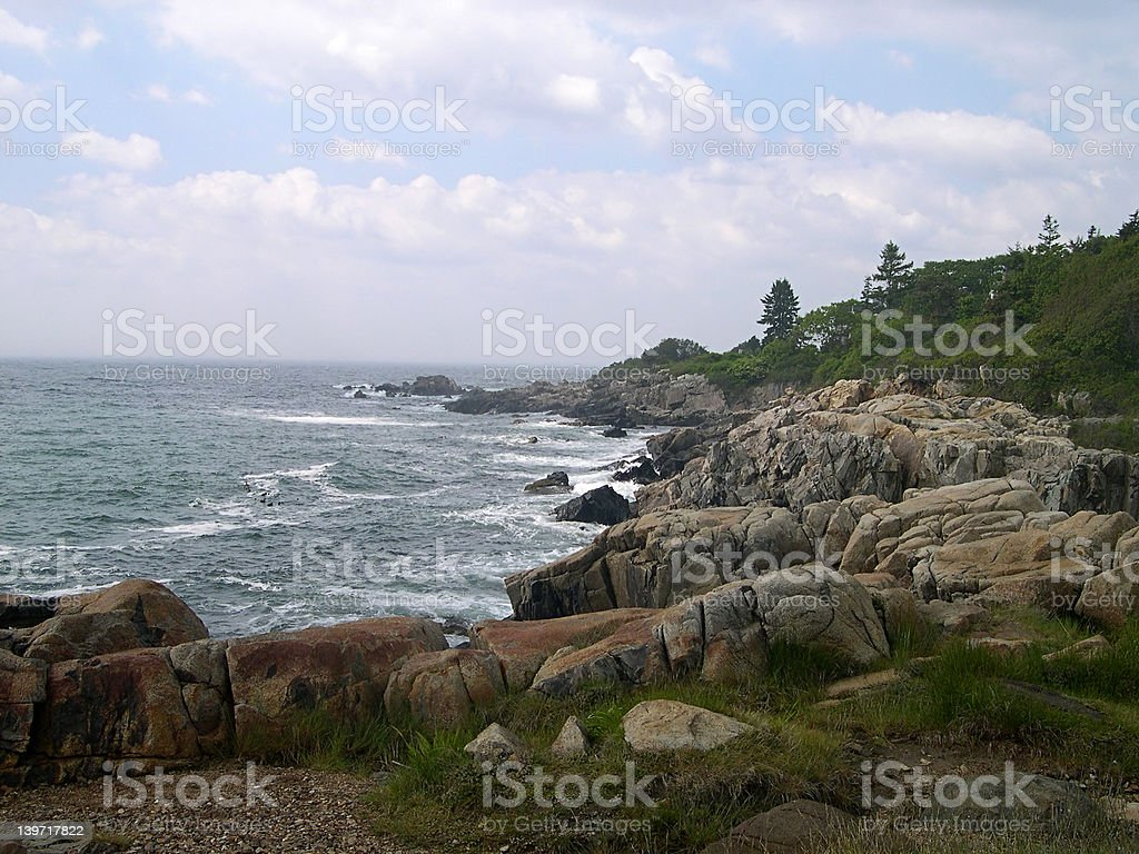 Rocky Maine Coastline stock photo