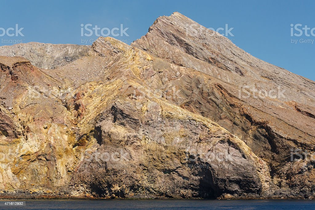 rocky massif on White Island stock photo