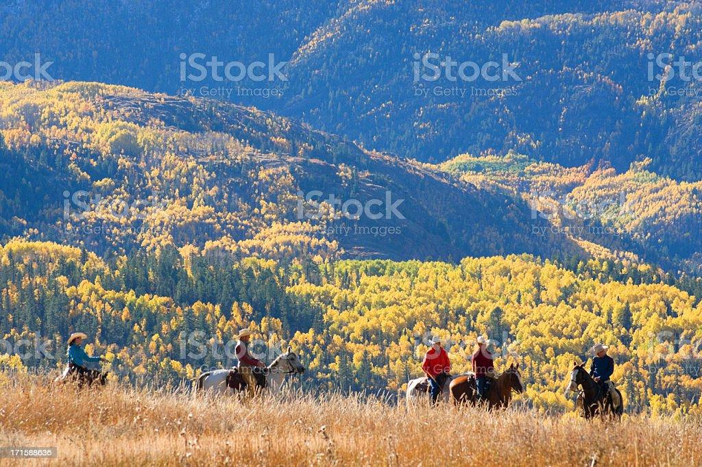 rocky mountain horseback autumn landscape stock photo