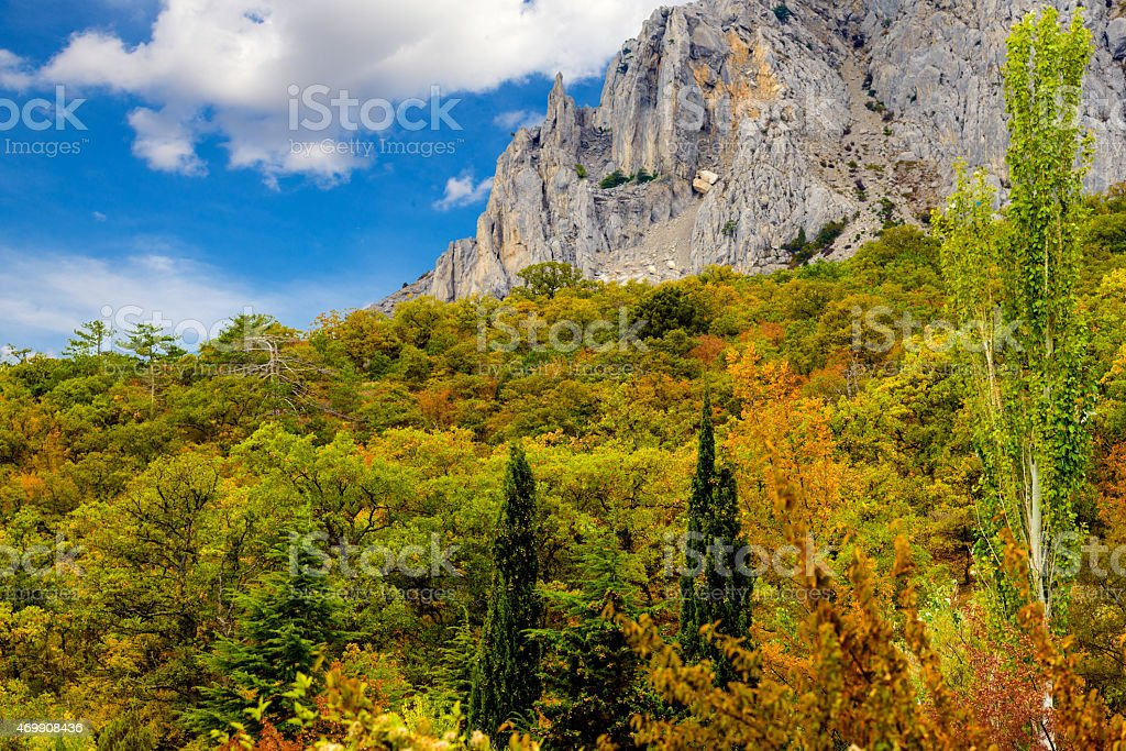 Rocky mountain in autumn. stock photo