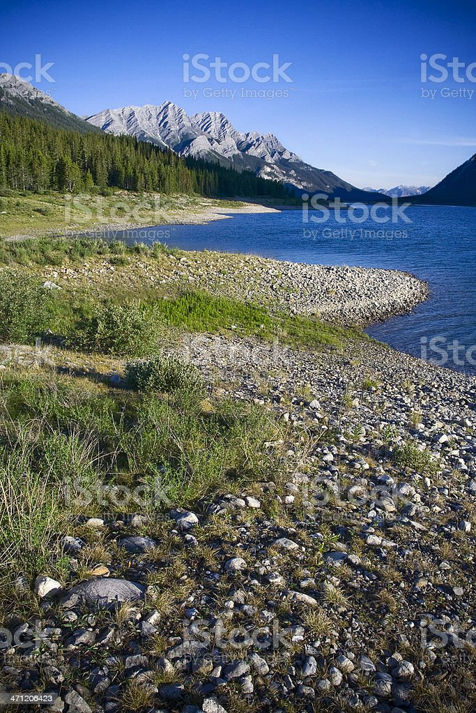 Rocky Mountain Lake Shore stock photo