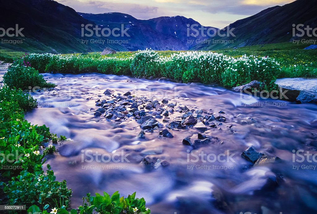 rocky mountain landscape sunset creek stock photo