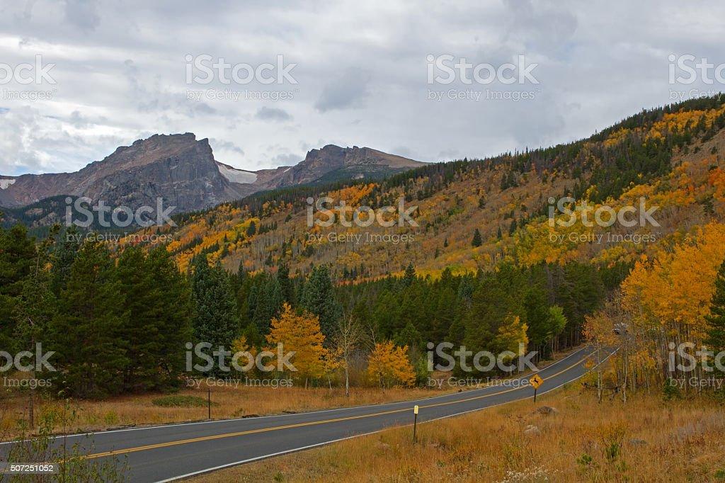 Rocky Mountain National Park and Bear Lake Road stock photo