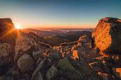 Rocky Mountain Peak. Mountain Landscape at Sunset.