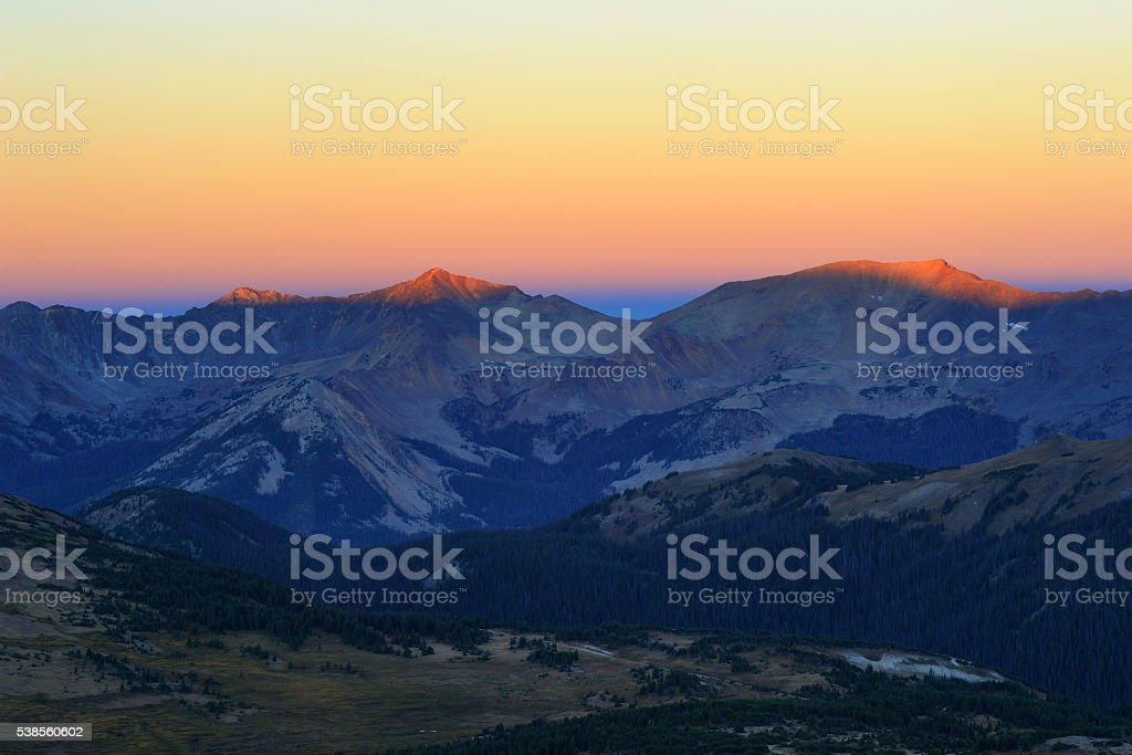 Rocky Mountain Range at Sunrise stock photo