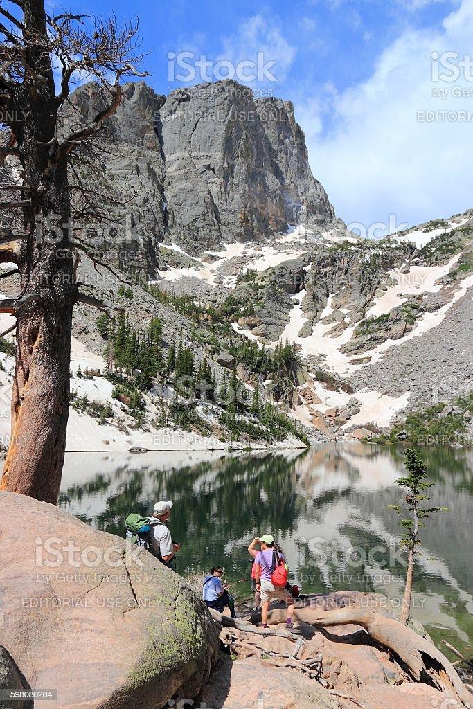 Rocky Mountain tourists stock photo