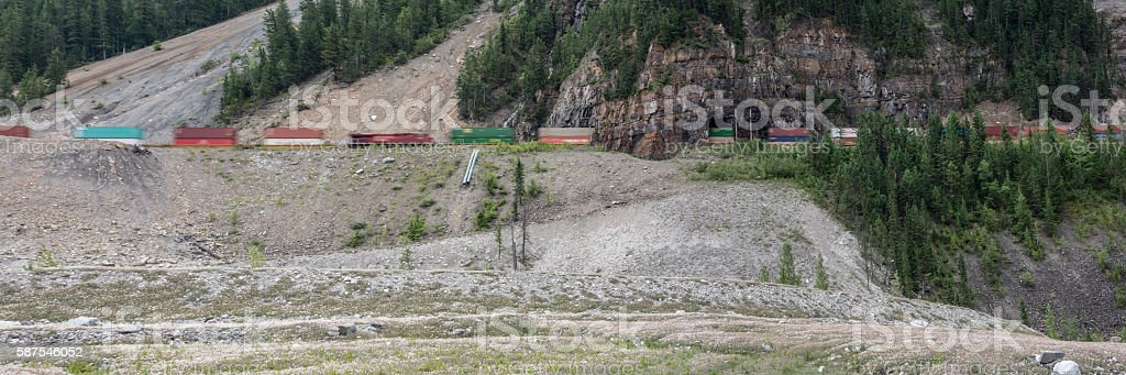 Mountain Freight Train Travelling through a Small Tunnel stock photo