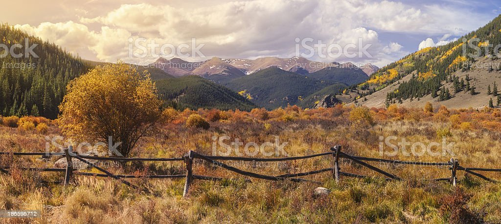 Rocky Mountain Valley in Fall stock photo