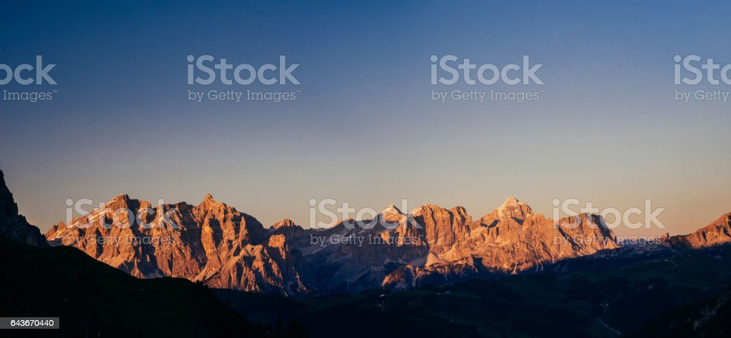 Rocky Mountains at sunset. Beauty world. Dolomite Alps Italy stock photo
