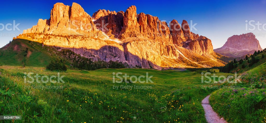 Rocky Mountains at sunset. Dolomite Alps, Italy stock photo