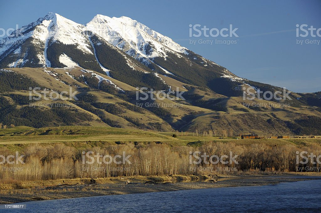 Rocky Mountains by the Yellowstone River royalty-free stock photo