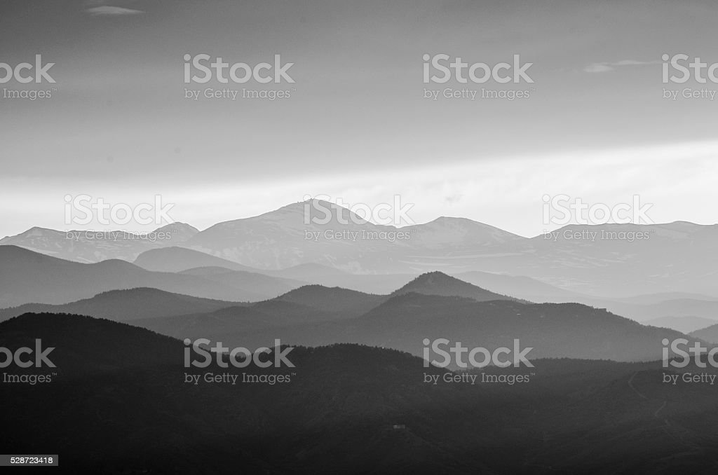 Rocky Mountains in Black and White Silhouette stock photo