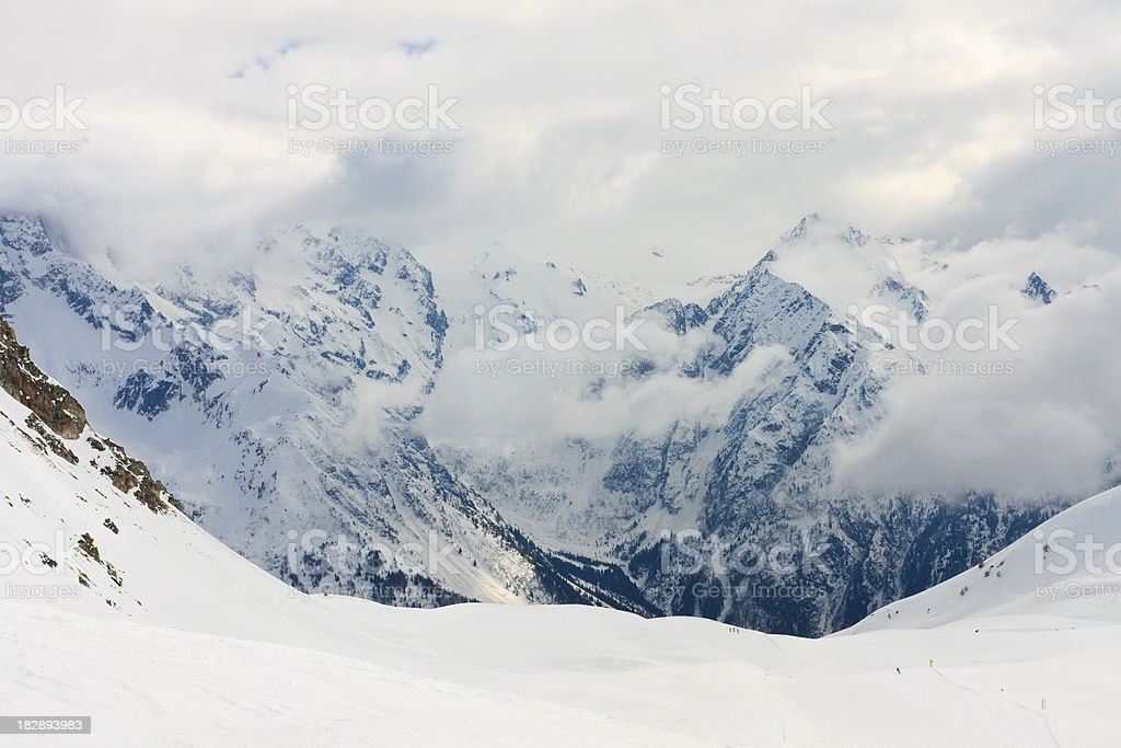 Rocky mountains in Italy during winter stock photo
