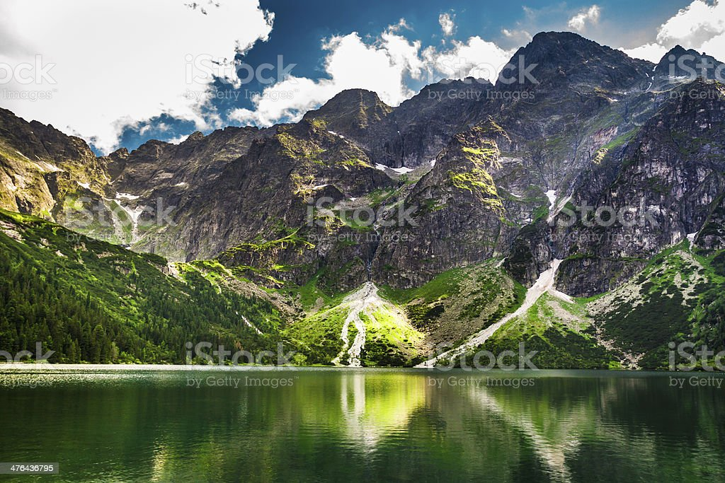 Rocky Mountains in summer and blue sky royalty-free stock photo