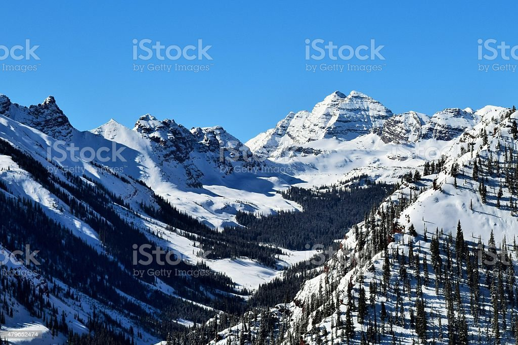 Rocky Mountains on a Clear Winter Day stock photo