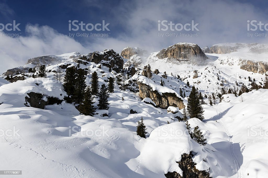 Rocky Mountains on the Skiing Resort of Arabba, Dolomites Alps stock photo