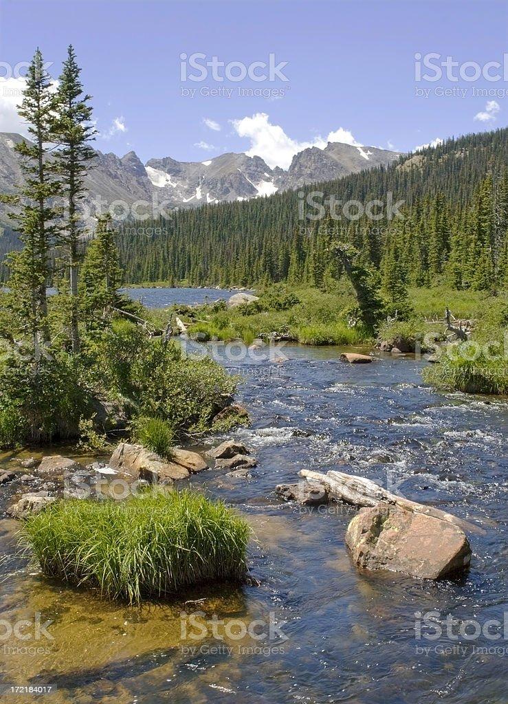 Rocky Mountains & Stream stock photo