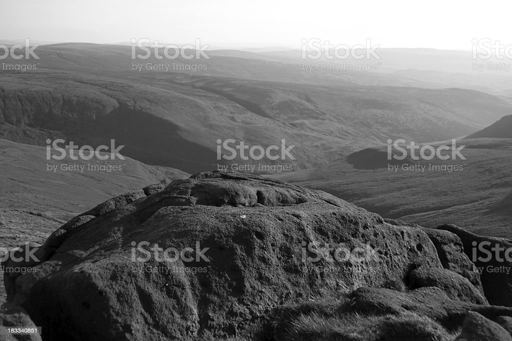 Rocky outcrop in the Peak District stock photo