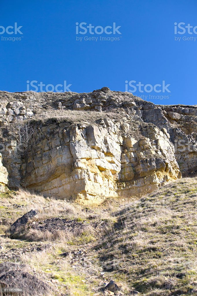 Rocky outcrop on Cleeve Hill Common in The Cotswold Hills stock photo
