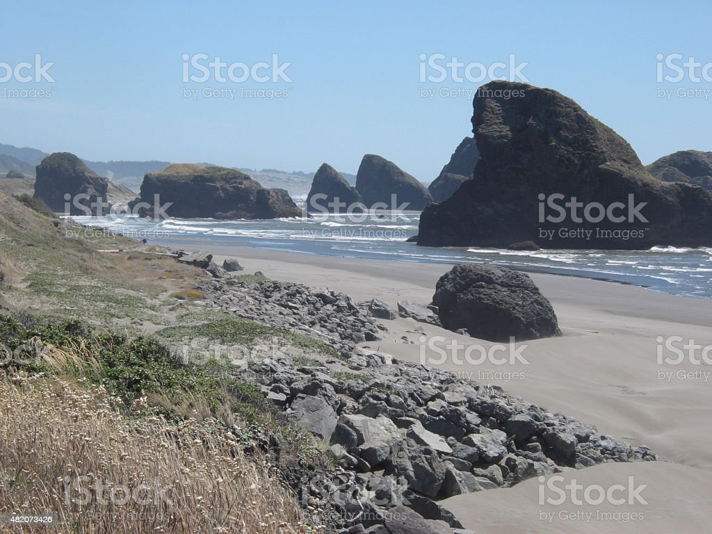 Rocky Outcroppings on Oregon Goast stock photo