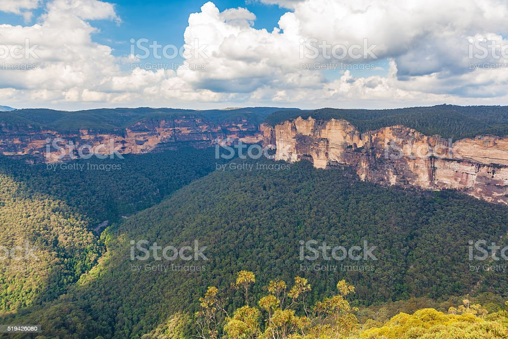 Rocky outcrops viewed from Echo lookout stock photo