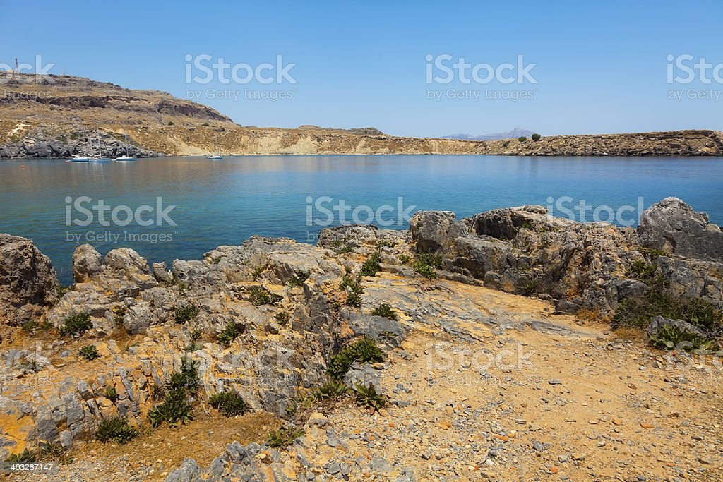 rocky plateau in Lindos stock photo
