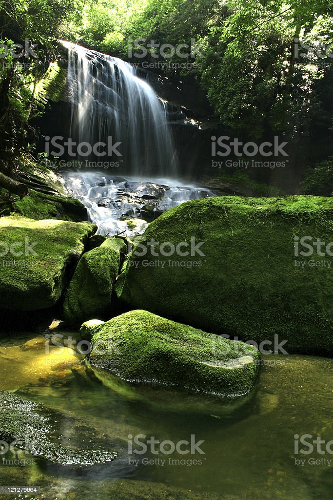 Rocky Rainforest Waterfall royalty-free stock photo