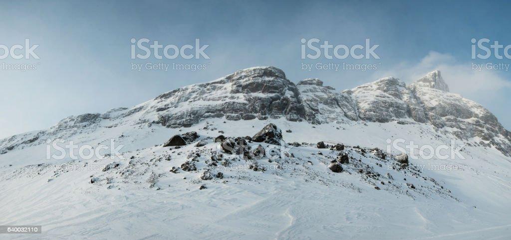 Rocky ridge in the winter. stock photo