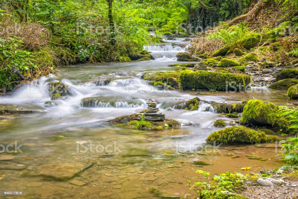 Rocky river Trevillet in North Cornwall stock photo