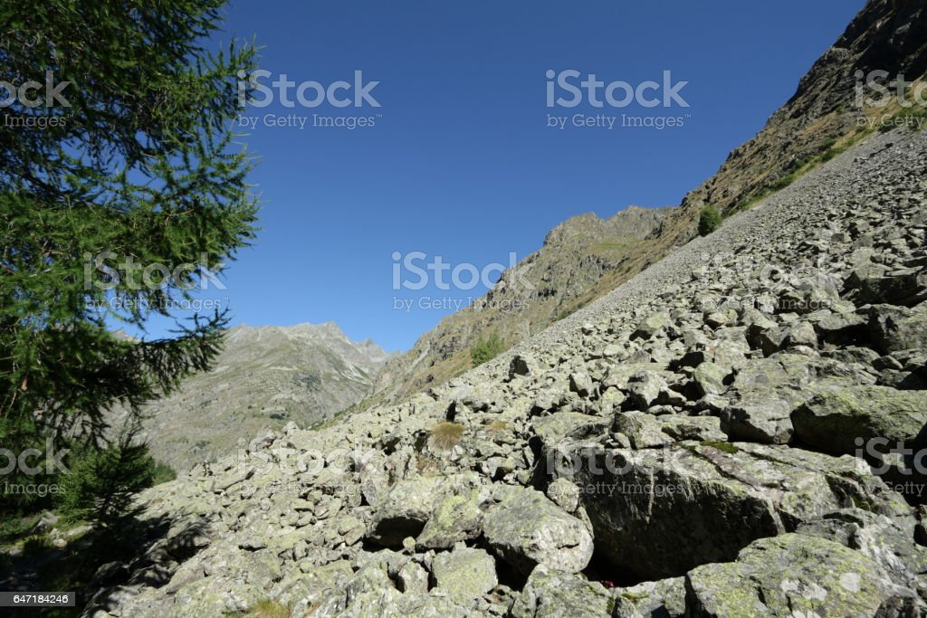 Rocky scree in Alps, France stock photo