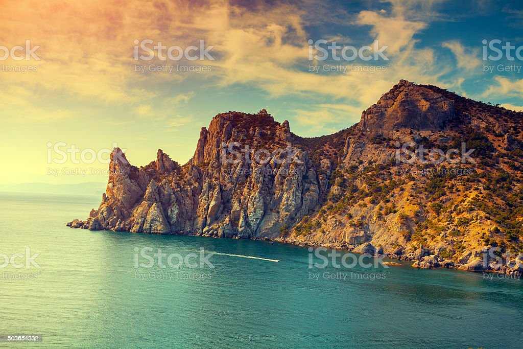 rocky sea coast stock photo