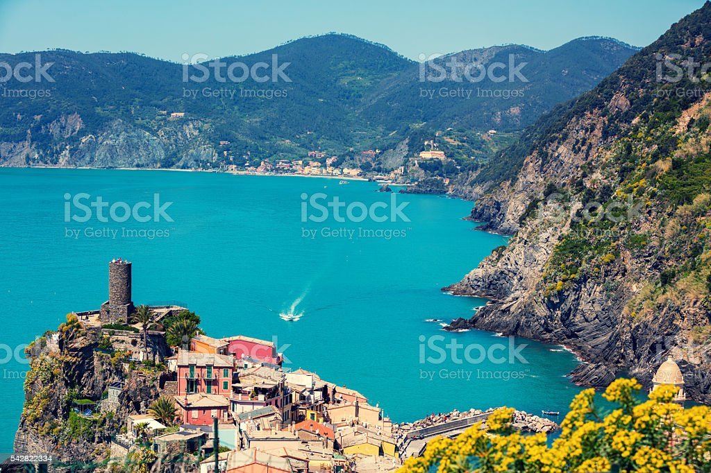 Rocky sea coast. Vernazza Village, Cinqe Terre, Italy stock photo