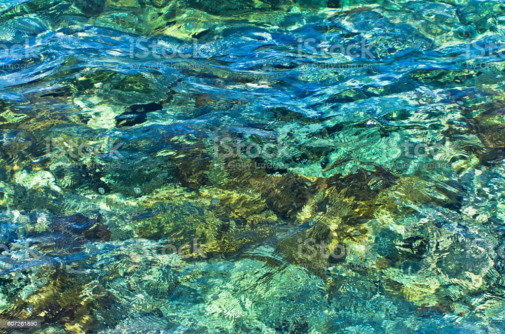 Rocky sea floor visible through crystal clear turquoise water stock photo
