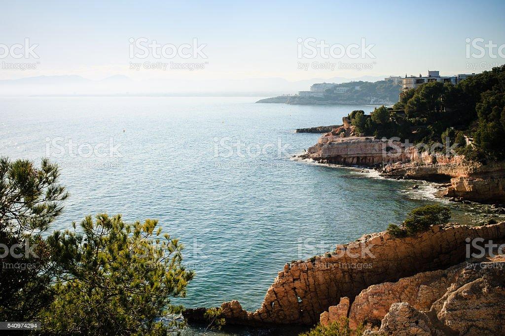 Rocky seashore in Catalonia stock photo