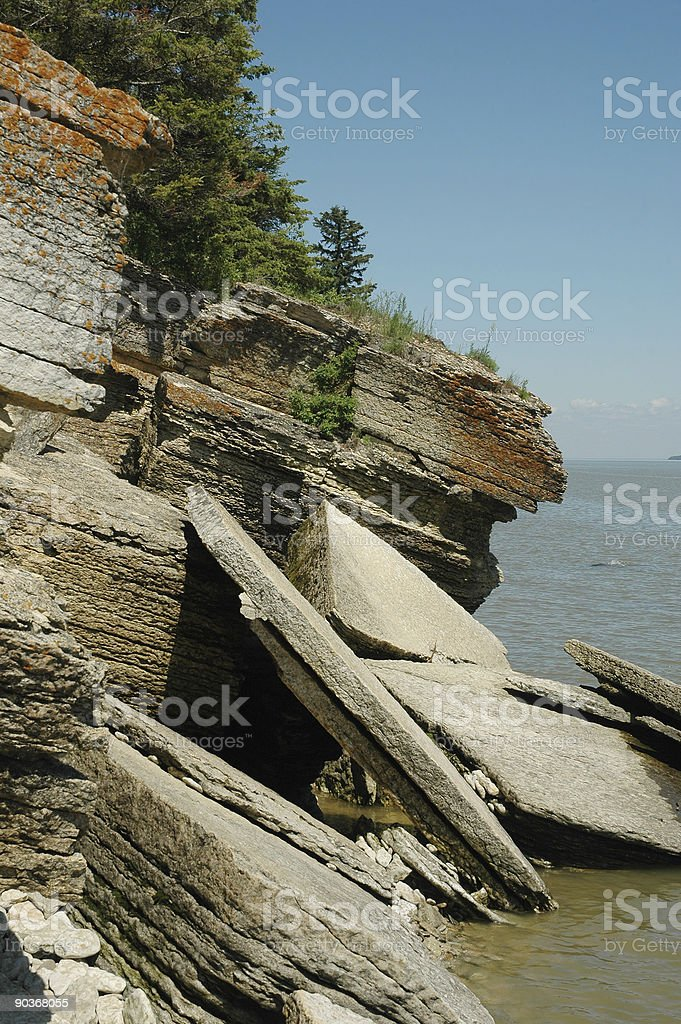 rocky shore and blue ocean view royalty-free stock photo