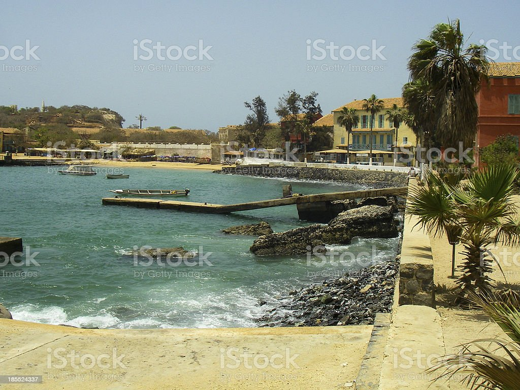 Rocky Shore and Seawall Goree Island Harbor Dakar Senegal Africa stock photo