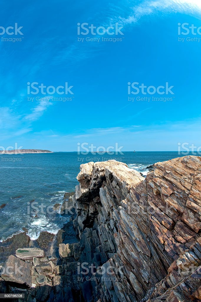 Rocky shore at Fort Williams Park in Cape Elizabeth, Maine stock photo