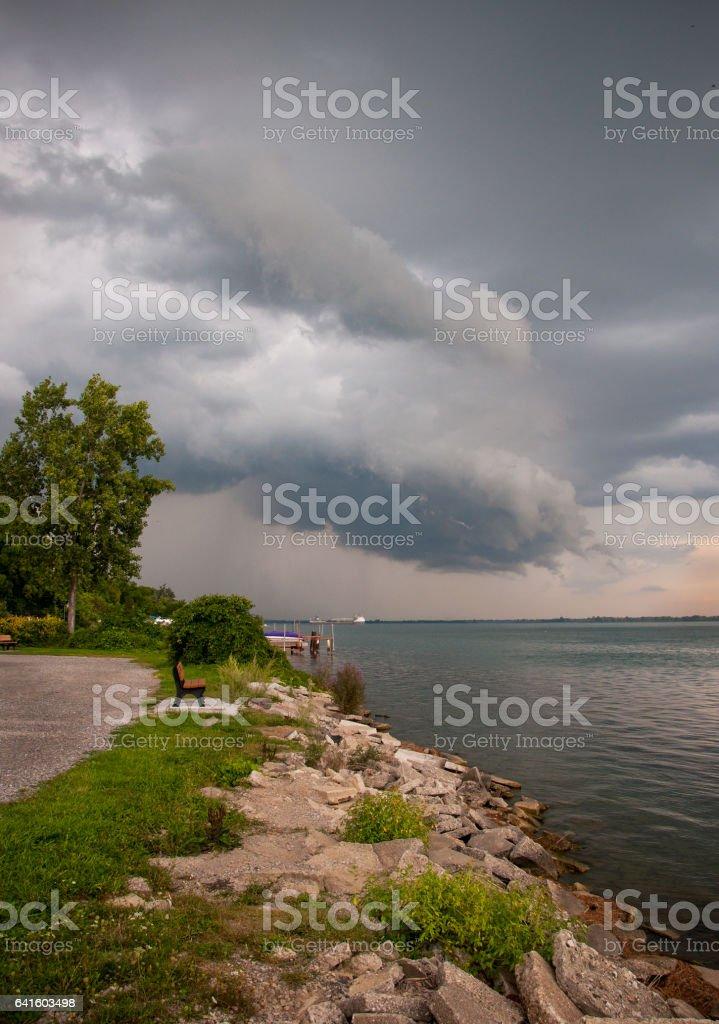 Rocky Shore Cloud Scape stock photo
