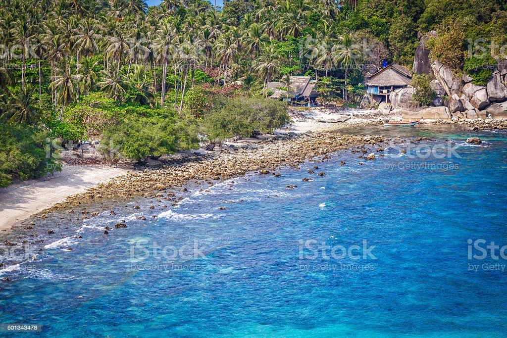 Rocky shore in Thailand stock photo