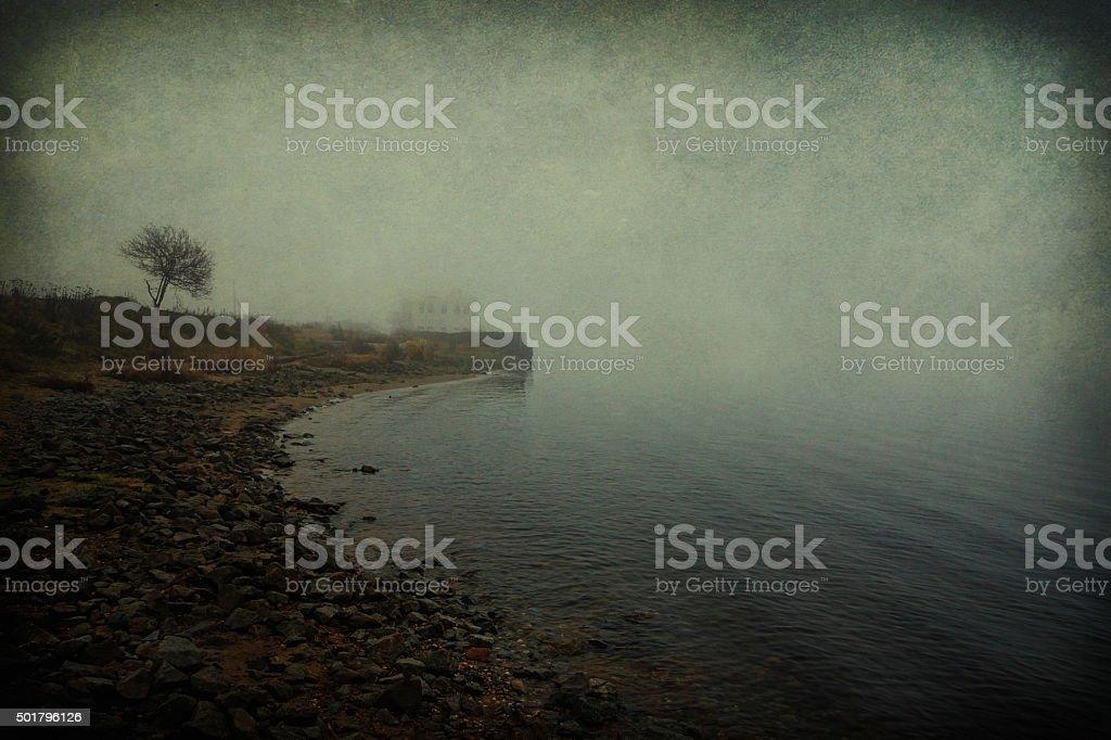 rocky shore in the fog stock photo