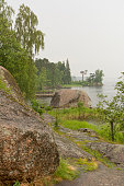 rocky shore with bushes, grass, trees, shore, Protective Bay