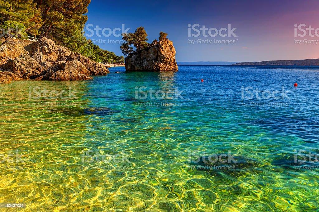 Rocky shore with crystal clear sea water,Brela,Dalmatia,Croatia stock photo