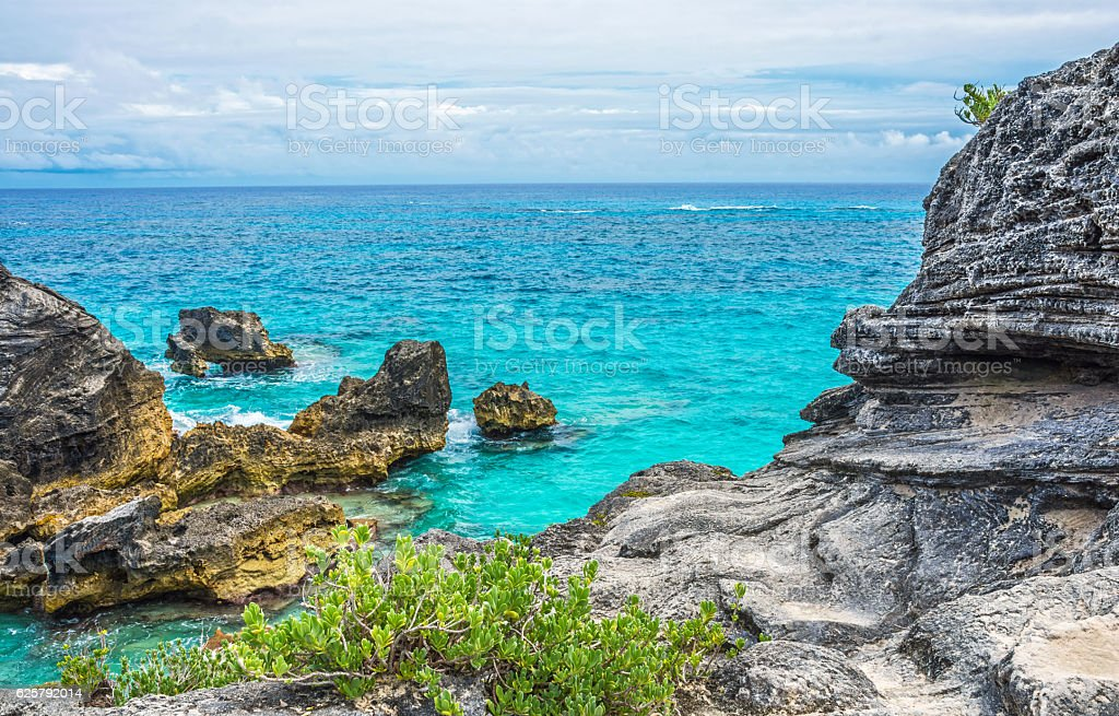 Rocky Shoreline Horseshoe Bay stock photo