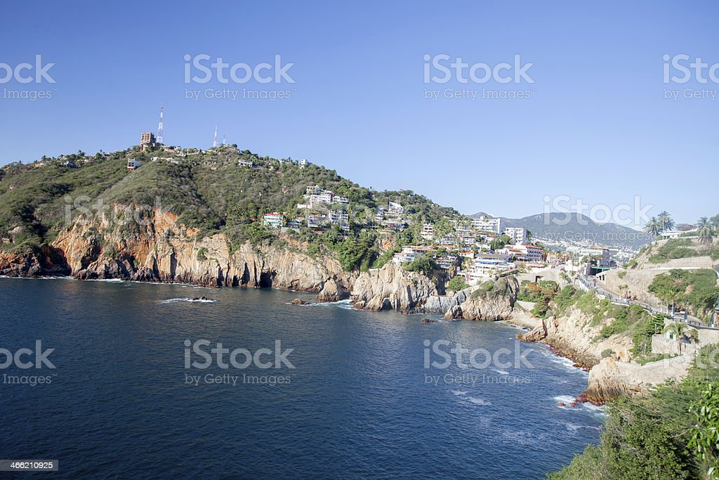 Rocky shoreline in Acapulco stock photo