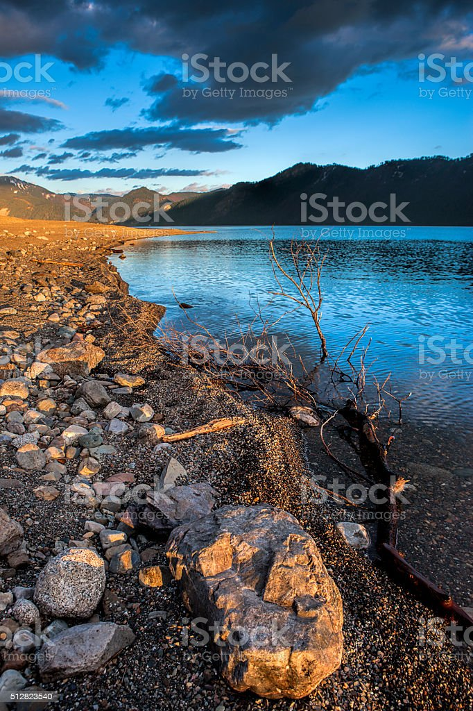 Rocky shoreline in Idaho. stock photo