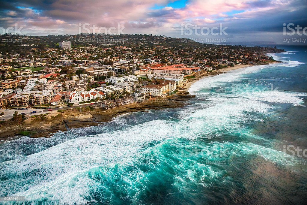 Rocky Shoreline of La Jolla California From Above stock photo
