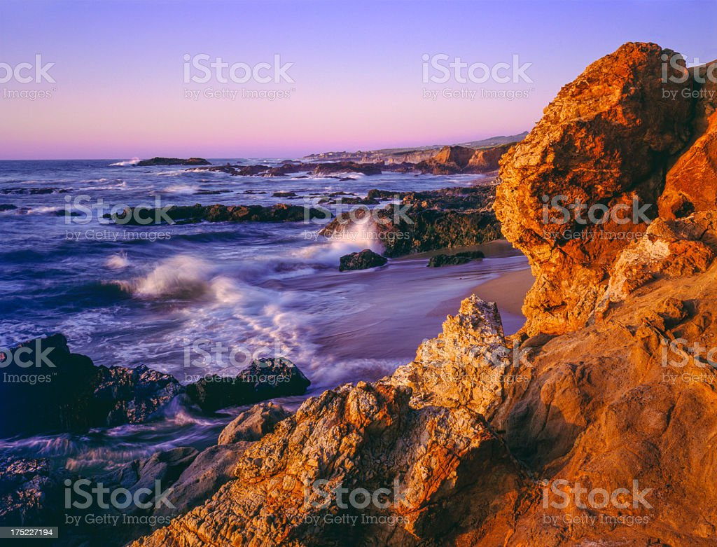 Rocky shoreline,Pescadero State Beach,California coast stock photo